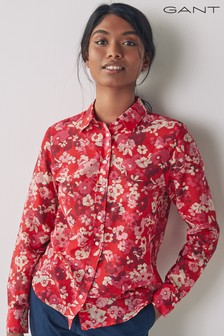 GANT Lava Red Liberation Bouquet Cotton Silk Shirt