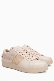 Floral Lace-Up Trainers