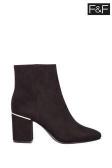 F&F Black Heel Clip Mod Boots