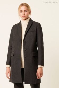 French Connection Grey Platform Felt Smart Coat