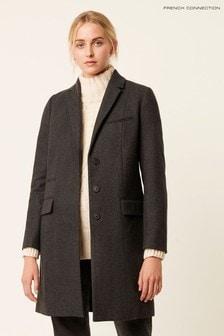 Sivý elegantný kabát French Connection