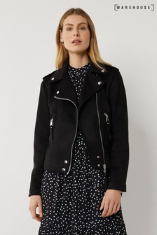 Warehouse Black Faux Suede Biker Jacket