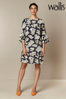 Wallis Navy Daisy Print Double Flute Sleeve Dress
