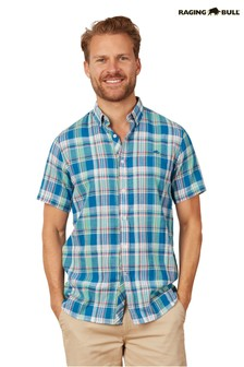 Raging Bull Green Short Sleeve Madras Check Shirt