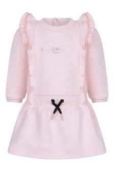 Baby Girls Pale Pink Fleece Ruffle Dress