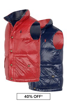 Boys Red Nylon Gilet