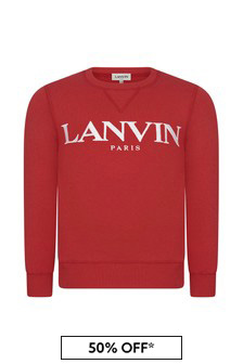 Lanvin Boys Red Cotton Sweat Top