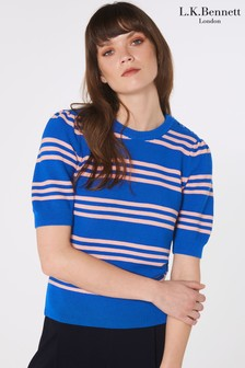 L.K.Bennett Blue Isobel Cotton Jumper