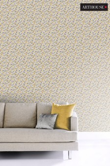Arthouse Yellow Painted Dot Floral Wallpaper