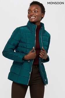 Monsoon Ladies Teal Kristen Eyelet Padded Jacket