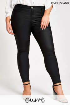 River Island Curve Black Molly Joyride Coated Jeans