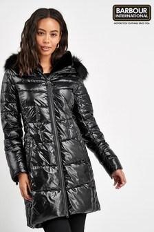 Barbour® International Premium Black Hayes Quilted Coat