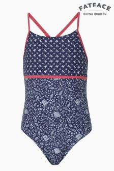 FatFace Light Navy Floral Fish Swimsuit