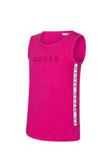 Guess Girls Pink Cotton Sleeveless T-Shirt
