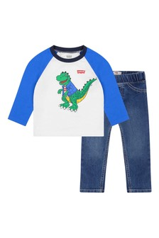 Baby Boys Cotton T-Shirt & Jeans Set