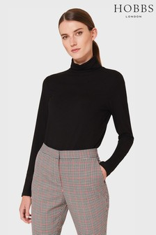 Hobbs Black Mischa Roll Neck Top