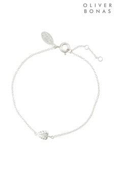 Oliver Bonas Silver Tone Monstera Leaf Silver Bracelet