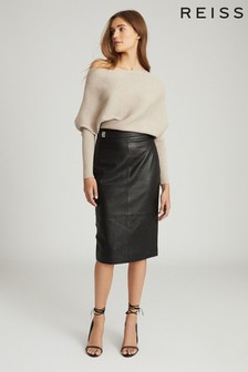 Reiss Black Kali Leather Pencil Skirt