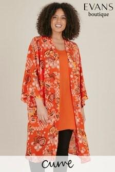 Evans Curve Red Paisley Print Kimono