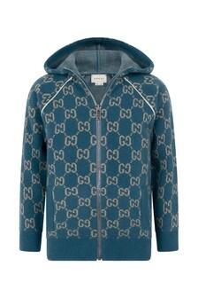Boys Light Blue Wool GG Hooded Zip Up Cardigan