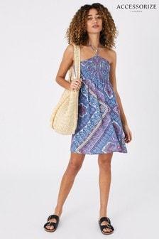 Accessorize Blue Kerala Scarf Print Bandeau Dress