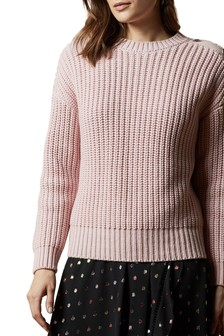 Ted Baker Pink Whtnee Button Sleeve Jumper