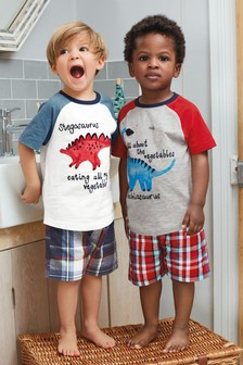2 Pack Dinosaur Check Short Pyjamas (9mths-8yrs)