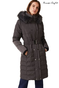 Phase Eight Grey Leona Long Padded Coat