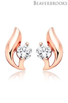 Beaverbrooks Silver Rose Gold Plated Cubic Zirconia Stud Earrings