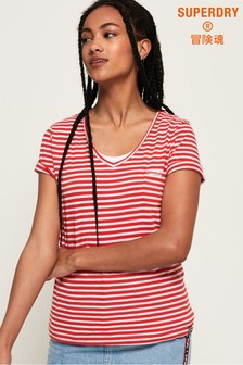 Superdry Stripe Orange Label Essential V-Neck T-Shirt