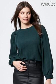 M&Co Gathered Shoulder Blouse