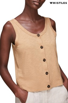 Whistles Oatmeal Button Up Tank Top
