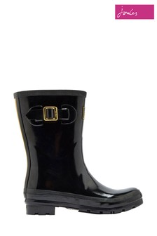 Joules Black Kelly Welly Gloss Mid Height Wellies