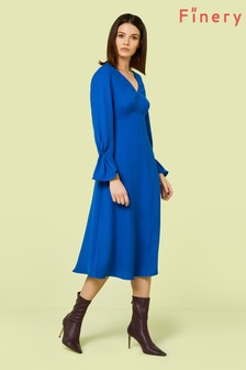 Finery London Blue Lykke Flared Sleeve Midi Dress