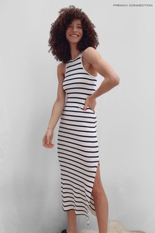 French Connection Tommy Rib Jersey Racer Neck Dress