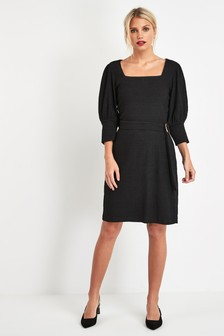 Puff Sleeve Belted Dress