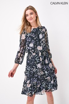 Calvin Klein Black Ruffle Wrap Dress