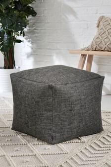 Charcoal Bouclé Weave Fabric Pouffe
