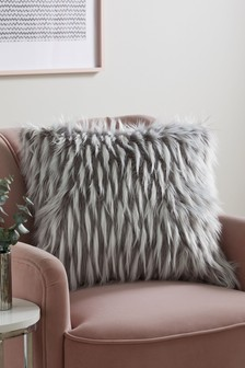 Grey Esme Faux Fur Cushion
