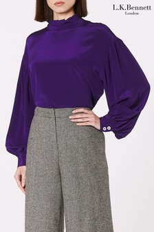 L.K.Bennett Purple Chapelle Silk Blouse