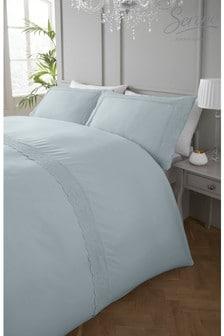 Renaissance Lace Trim Duvet Cover And Pillowcase Set by Serene