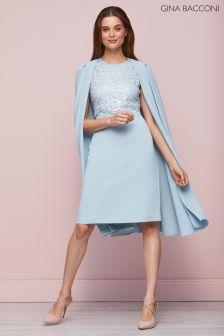 Gina Bacconi Blue Jolene Crepe And Lace Dress With Cape