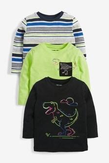 3 Pack Long Sleeve Dino T-Shirts (3mths-7yrs)