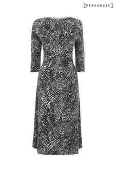 Warehouse Black Abstract Crocodile Print Dress