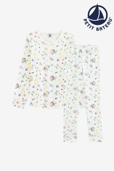 Petit Bateau White Floral Print Pyjamas