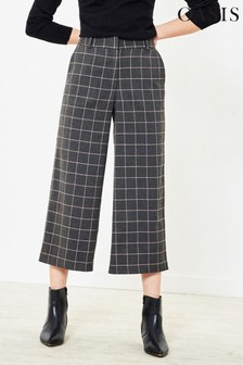 Oasis Natural Check Wide Leg Trousers