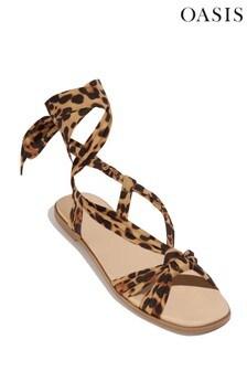 Oasis Animal Ankle Tie Flat Sandal