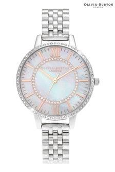 Olivia Burton Silver Tone Wonderland White Demi Bracelet Watch