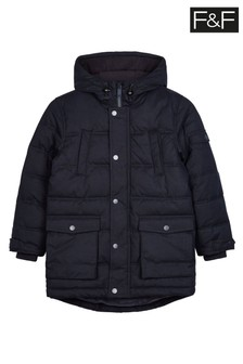 F&F Navy Longline Parka With Faux Fur Trim Hood