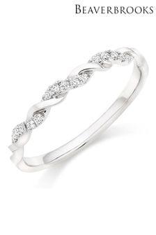 Beaverbrooks Platinum Diamond Twist Wedding Ring